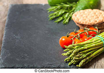 Frame or border of assorted fresh vegetables