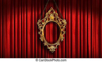 frame, oud, rood, goud, drapes