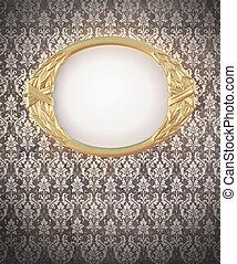 frame, ovaal, decoratief, goud