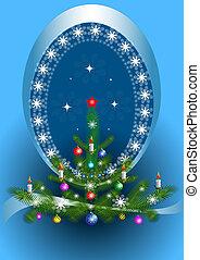 frame oval, árvore, natal