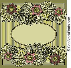 frame oval, flores