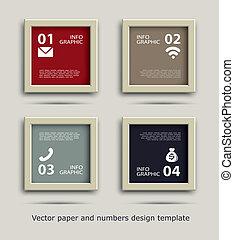 frame, papier, getallen, pictogram