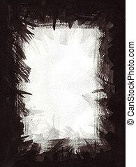 frame, papier, zwarte inkt