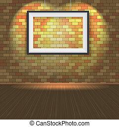 frame parede, mais claro, tijolo, vazio