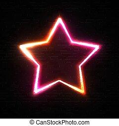 frame parede, néon, sinal amarelo, forma, signage., borda, brilhar, cor-de-rosa, estilo, cromo, experiência., glowing, pretas, retro, 80s, tijolo, estrela, jogo, barzinhos, illustration., cabo, cassino, light., vetorial, nightlife, noturna
