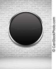frame parede, pretas, tijolo, redondo