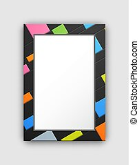 Frame Pattern with Abstract Color Squares on Black