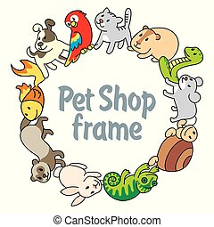 Frame Pet shop, types of pets