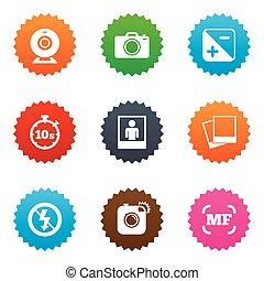frame., photo, photos, vidéo, icons., appareil photo