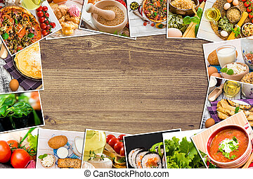photos of food on a wooden table