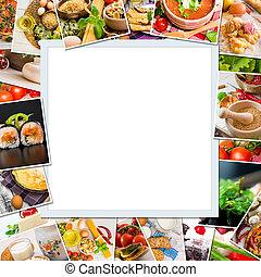 Frame photos of food on white