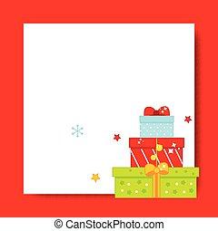 frame., presente, ano, caixas, fundo, em branco, novo, decorado, natal