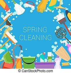 frame., printemps, housecleaning, arrière-plan., vecteur, nettoyage fournit, outils