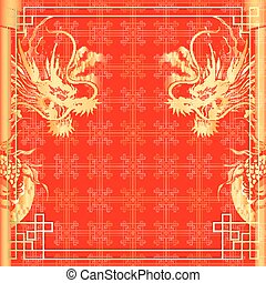 frame red dragon gold-colored sticker 2