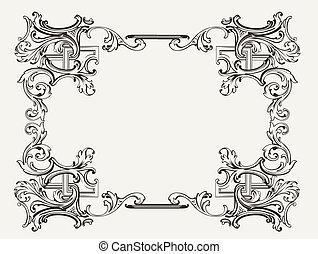 frame, renaissance, sierlijk, origineel