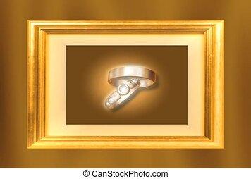 frame, ringen, goud, trouwfeest