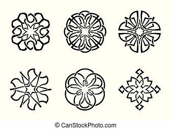 frame, ronde, 05, keltisch, decoratief, set