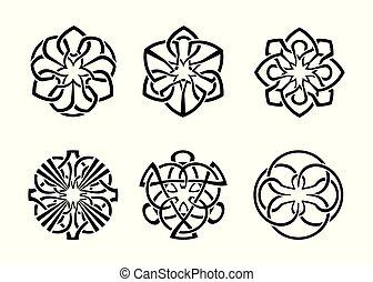 frame, ronde, keltisch, 04, decoratief, set