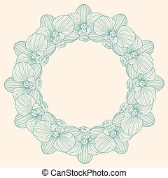 frame, ronde, orchidee