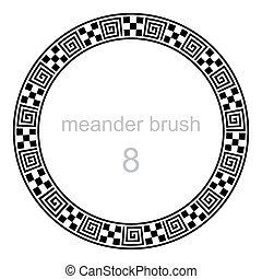 frame round ornament meander pattern