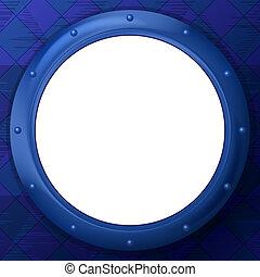 Frame round porthole on blue background - Abstract...
