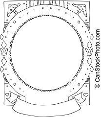 frame., scarabocchiare, mano, vettore, disegnato, bordo