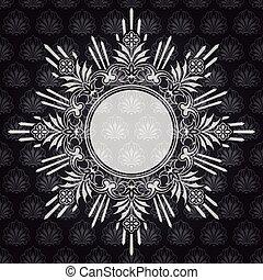 frame, sierlijk, grijze , achtergrond, textured, grens