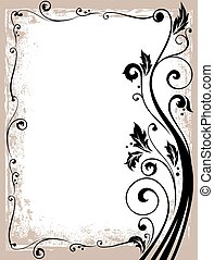 frame, sierlijk, vector, floral