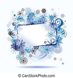 frame, snowflakes., tekst, jouw, plek, here., kerstmis
