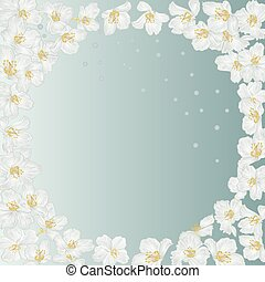 Frame spring blue background with blossoms jasmine and dewdrops vintage vector