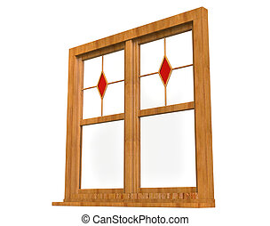 Frame stained glass - low angle - Wooden window frame with ...