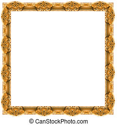 frame - a picture gold frame on a white