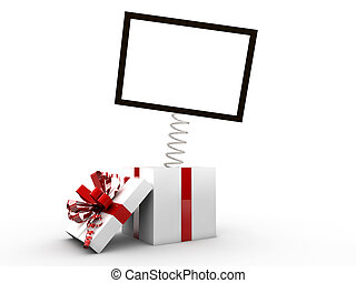 Opened gift box with blank frame exit from it