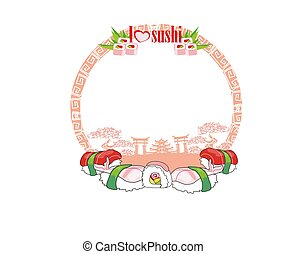 frame, sushi, -, artistiek