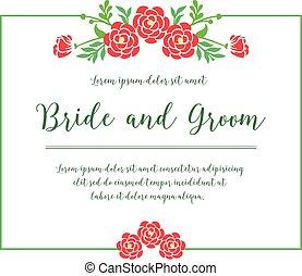 frame., szambelan królewski, karta, panna młoda, celebrowanie, rocznik wina, róża, kwiat, czerwony, wektor