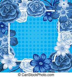 Frame template design with blue flowers
