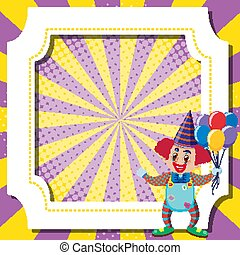 Frame template design with clown and balloons