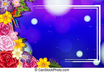 Frame template design with colorful flowers