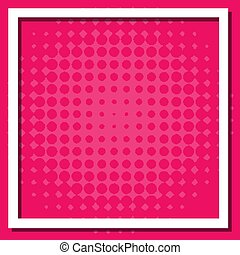 Frame template design with dots on pink