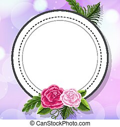 Frame template design with flower on purple background