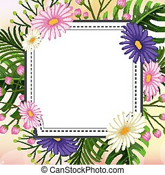Frame template design with flowers