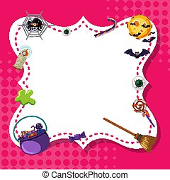 Frame template design with halloween theme