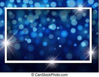 Frame template design with lights on blue