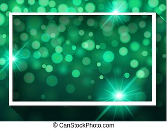 Frame template design with lights on green