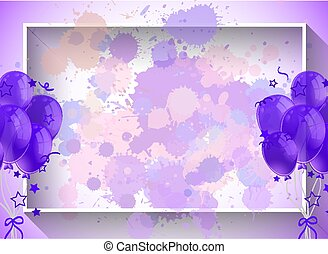 Frame template design with purple balloons