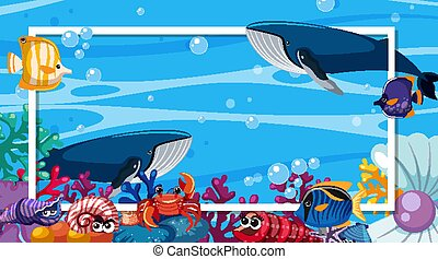 Frame template design with sea creatures under the ocean
