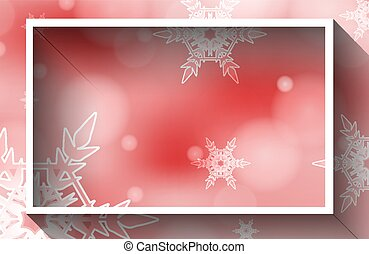 Frame template design with snowflakes on red