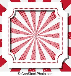 Frame template design with white and red stripes