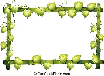 Frame template with bamboo and green leaves