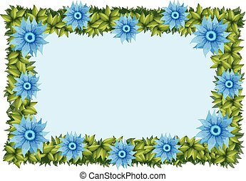 Frame template with blue flowers